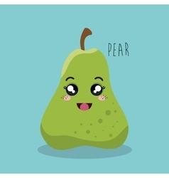 cartoon pear fruit facial expression design vector image
