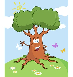 Cartoon Tree Waving A Greeting Landscape vector image
