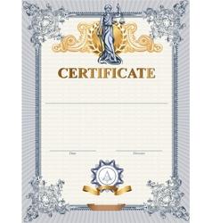 Certificate template with Femida vector