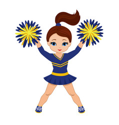 cheerleader in blue yellow uniform with pom pom vector image vector image