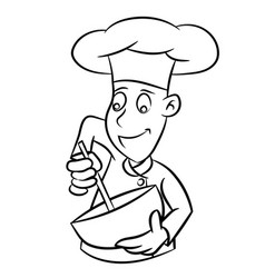 chef cartoon - line drawn vector image