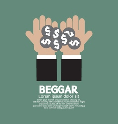 Coin Donated To The Beggar vector image