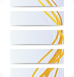 Collection of business cards with golden lines vector image