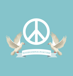 color poster with white peace and love symbol and vector image