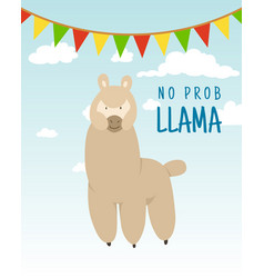 cool cartoon doodle alpaca lettering quote with no vector image