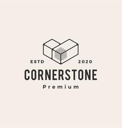cornerstone hipster vintage logo icon vector image
