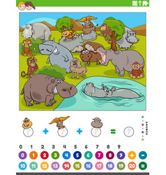 Counting and adding game with cartoon wild animals vector