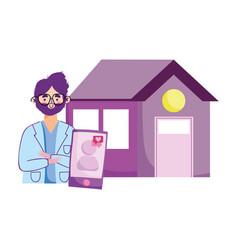 Covid 19 coronavirus doctor stay at home vector
