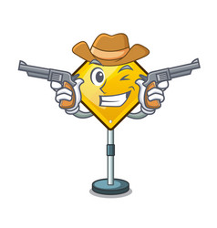 Cowboy harm warning sign shaped on cartoon vector