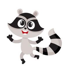 Cute happy raccoon character raising paws in vector