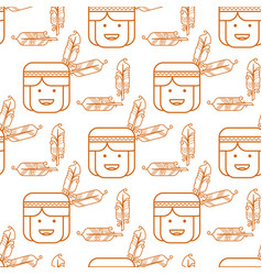 cute indian with feathers seamless pattern vector image