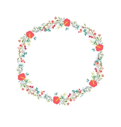 Cute retro flowers arranged un a shape of the vector