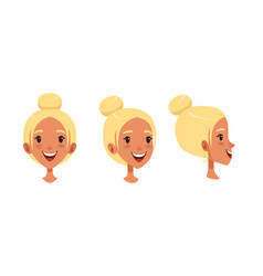 cute smiling blonde girl set different view of vector image