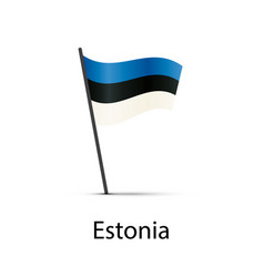 estonia flag on pole infographic element on white vector image