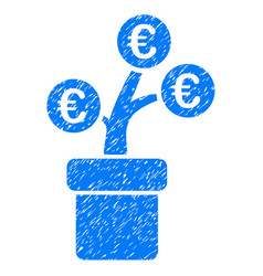 Euro tree pot icon grunge watermark vector