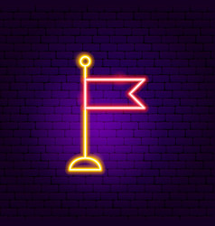 Flag neon sign vector