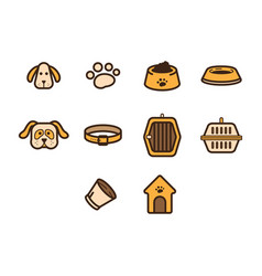flat color dog icon set vector image