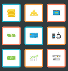 Flat icons remote paying small change ingot and vector