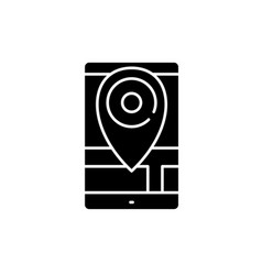 Geolocation black icon sign on isolated vector