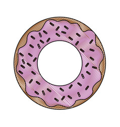 Glazed donut with sprinkles icon image vector