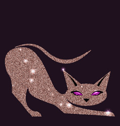 gold rose cat with violet eyes vector image