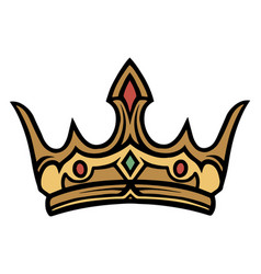 gold royal crown with gems vector image