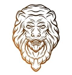 Golden lion head door knocker vector image