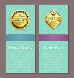 golden quality premium choice gold label on banner vector image