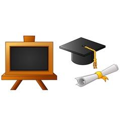 Graduation cap and diploma vector