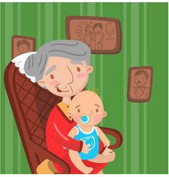 grandmother with her grandson photo on the vector image