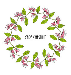 Greeting card template with round frame wreath of vector