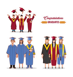 Group of students graduated characters vector