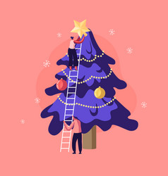 happy characters decorate christmas tree young vector image
