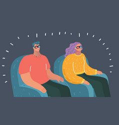 happy young couple watching tv vector image