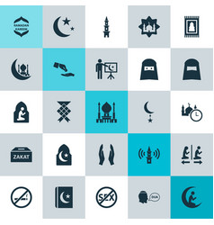 Holiday icons set collection of prayer carpet vector