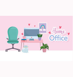 home office workplace computer in desk chair books vector image