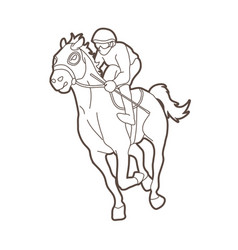 horse racing jockey riding horse outline vector image
