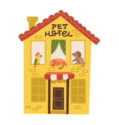hotel for pets filled with dog parrot and cat pet vector image