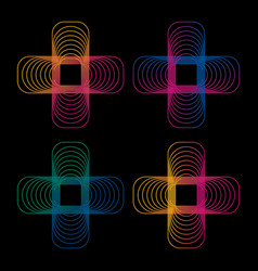 Isolated abstract colorful neon cross logo set vector