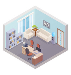 Isometric office interior with boss workplace vector