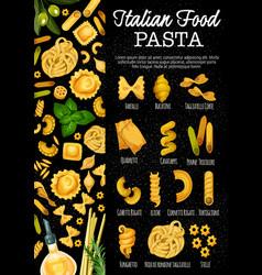 Italian pasta sorts italy cuisine dishes vector