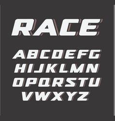 Italic bold font vintage sport alphabet race vector