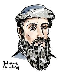 Johannes gutenberg portrait vector