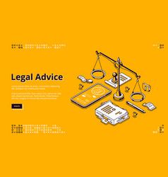 legal advice isometric landing lawyer assistance vector image