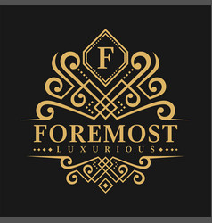 Letter f logo - classic luxurious style logo vector