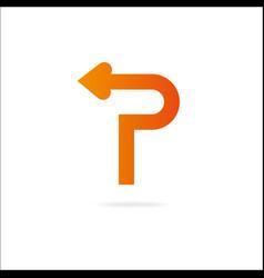 Letter p logo design template elements arrow vector