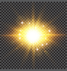 Lighting effect sparkling sun rays burst with vector