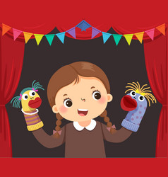 Little girl playing sock puppets vector