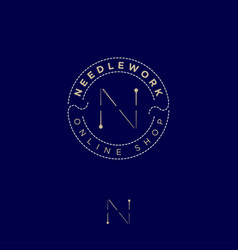 Logo needlework pins needle thread online shop vector
