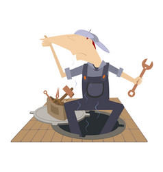 mechanic working in the sewer manhole and stink fr vector image